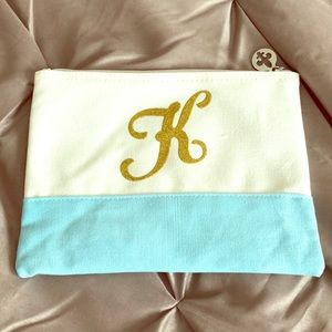"""Handbags - Cosmetic bag blue and white with gold """"K"""""""